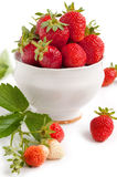 Strawberry with green leaf Stock Images