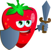 Strawberry  guard with shield and sword Stock Image