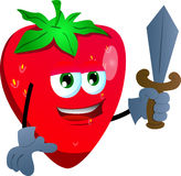 Strawberry guard with sword Royalty Free Stock Image