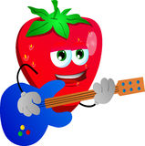 Strawberry guitar player Stock Images