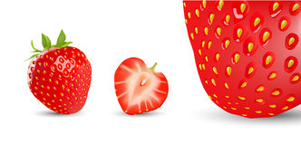 Strawberry. Half of a berry isolated on white background Royalty Free Stock Image