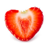 Strawberry. Half of berry like a heart isolated on white Stock Photos