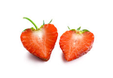 Strawberry. Half of a fresh berry on white background. Strawberry. Half of a berry on white background stock photo