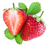 Strawberry and the half of fruit. Royalty Free Stock Images