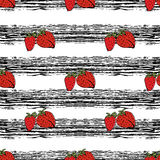 Strawberry hand drawn pattern on black strips Stock Photos