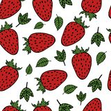 Handdrawn strawberry pattern stock illustration