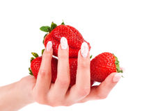 Strawberry in the hands on white background Royalty Free Stock Images
