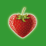 Strawberry hart on green background. Realistic illustration of a hart shaped strawberry Royalty Free Stock Photos