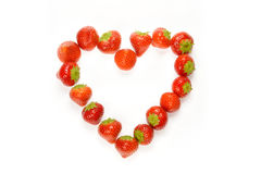 Strawberry heart. Strawberry fruits in form of heart Royalty Free Stock Photo