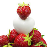 Strawberry and heart Stock Photography