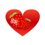 Strawberry heart Stock Images