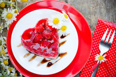 Strawberry heart cake dessert on Valentines Day , classic Valent Royalty Free Stock Images