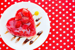 Strawberry heart cake - romantic dessert on Valentines Day Stock Photos