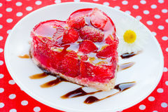 Strawberry heart cake - romantic dessert on Valentines Day Royalty Free Stock Photos