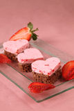 Strawberry heart cakes Royalty Free Stock Photography