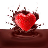 Strawberry heart with chocolate Stock Photo