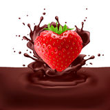 Strawberry heart with chocolate Royalty Free Stock Image