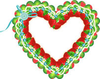 Strawberry heart frame Royalty Free Stock Photography