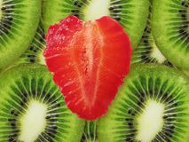 Strawberry heart and kiwi Stock Photo