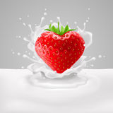 Strawberry heart with milk. Strawberry heart with green leaves in milk splashes Royalty Free Stock Photos
