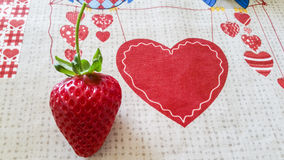 Strawberry & Heart. Red Strawberry and red Heart Royalty Free Stock Photos
