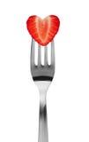 Strawberry heart shape Stock Photos