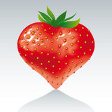 Strawberry heart. Strawberry in a shape of a heart stock illustration