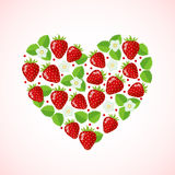 Strawberry in heart shape. Modern flat style. Healthy eating concept. Organic food. Diet design element. Love concept. Vector illustration Stock Photos