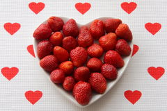 Strawberry heart - stock photos. Strawberries in heart shape plate - Valentines Day Gift or Summer Vitamins Food Royalty Free Stock Images
