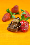 Strawberry, hearts and chocolate Stock Images