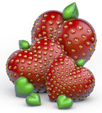 Strawberry hearts, small group. Three big strawberries, all elements in shape of hearts, 3d rendering on white background Stock Image