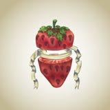 Strawberry with heraldic ribbon Royalty Free Stock Photos