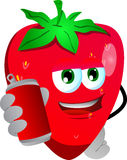 Strawberry holding beer or soda can Stock Photo