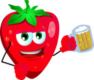 Strawberry holding beer Stock Photography