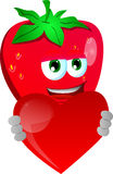 Strawberry holding a big red heart Stock Images