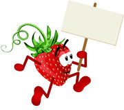 Strawberry Holding Blank Signboard Royalty Free Stock Photography