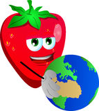 Strawberry holding Earth Stock Images