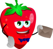 Strawberry holding an envelope Stock Images