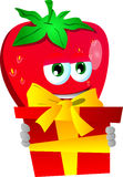 Strawberry holding gift box Stock Image