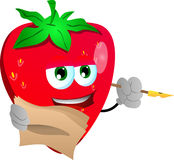 Strawberry holding pen and papers Stock Images