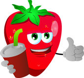Strawberry holding soda and showing thumb up sign Royalty Free Stock Photos