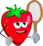 Strawberry holding a tennis rocket Royalty Free Stock Image