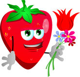 Strawberry holding tulip and other flowers Royalty Free Stock Image