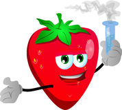 Strawberry holds beaker of chemicals Royalty Free Stock Photography