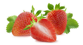 Strawberry horizontal composition on white background royalty free stock photography