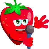 Strawberry hosting a show and talking into a microphone Stock Photography