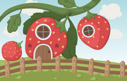 Strawberry house. Illustration of a strawberry house Royalty Free Stock Images
