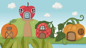 Strawberry house and pumpkin house and orange hous Stock Image