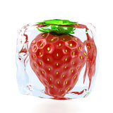 Strawberry  in ice Royalty Free Stock Photos