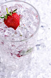 Strawberry on ice. Filled glass royalty free stock photos